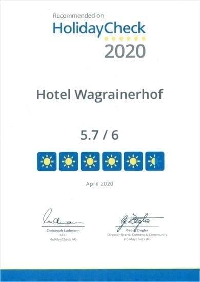 Hotel Wagrainerhof - Auszeichnungen - HolidayCheck 2020